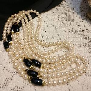2 Vintage Strands Faux Pearl Necklaces EUC
